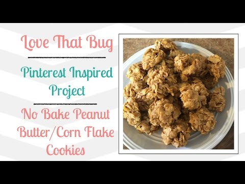 PIP | No Bake Peanut Butter Cornflake Cookies