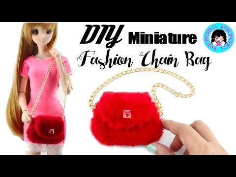 👛 DIY Miniature Fashion Chain Bag for Dolls! 👛 DarlingDolls Miniature DIY