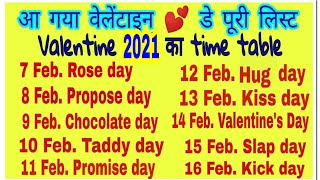 2019 Valentine Week List Dates and Schedule । Valentine Week 2019 वेलेंटाइन 💕 डे...