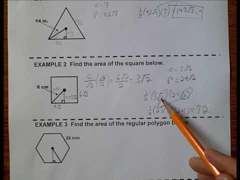 Geometry (Topic 1-5) Areas of Regular Polygons