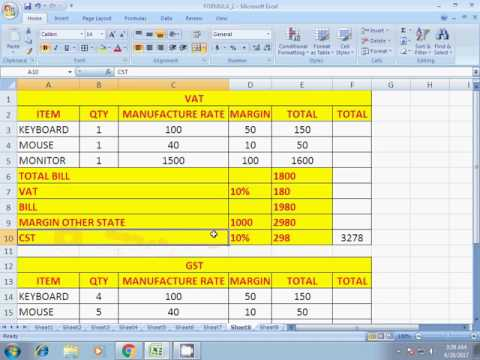HOW TO CALCULATE GST EXCEL IN HINDI
