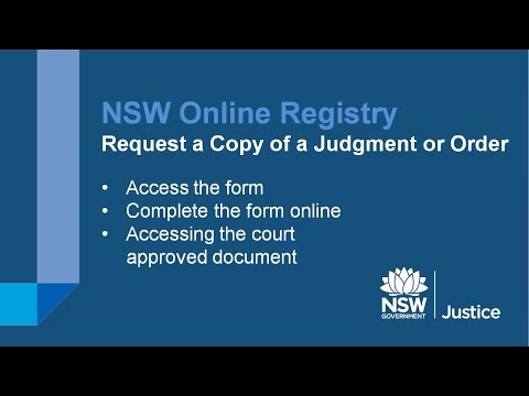 NSW Online Registry - Request a copy of judgment or order