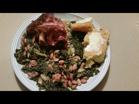 Pressure Cooker Ham Hocks, Kale Greens and Pinto Beans