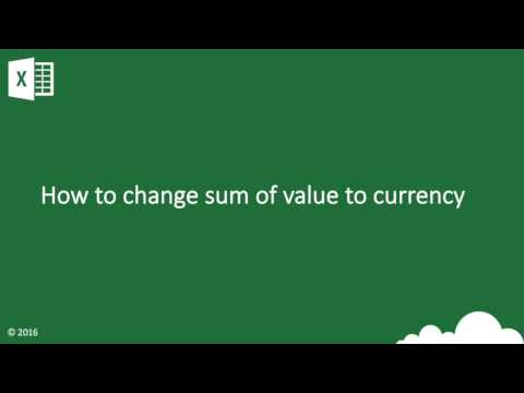 Excel How to change the sum of value to currency