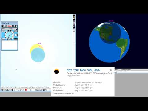 New York  - Animation of the Total Solar Eclipse August 21, 2017 from New York