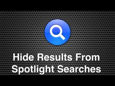 Hide Results From Spotlight Searches In Mac OS X