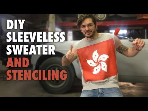 DIY Sleeveless Sweater - How To Remove the Sleeves and place a Stencil - no sew