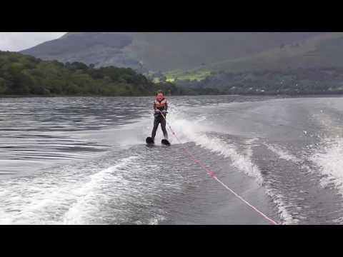 Morgan skiing and crossing the wake both sides