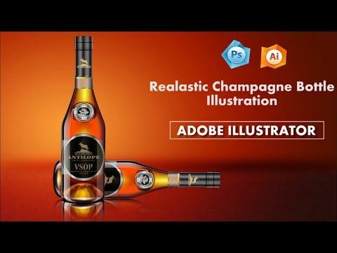 illustrator tutorials -Realistic Champagne Bottle illustration in Adobe illustrator