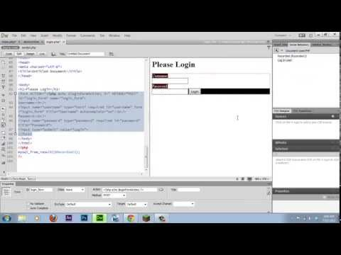 How To Create A Login Page For Your Website With Dreamweaver (2013)