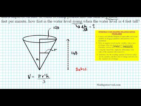 unit 4 test application of derivatives #8 related rates Cone conical tank volume height