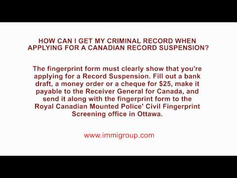 How can I get my Criminal Record when applying for a Canadian Record Suspension?