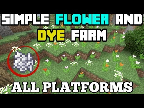 Minecraft Simple Flower And Dye Farm Tutorial Bone Meal Efficient All Platforms  PE PC Console