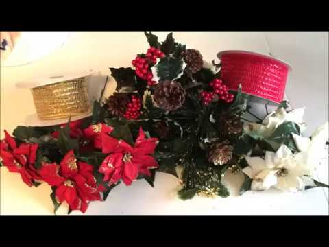 How To Make Christmas Decorations, Cemetery Flowers or Headstone Saddle