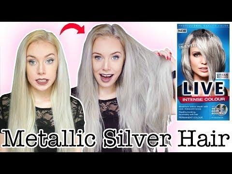 SILVER HAIR TUTORIAL USING SCHWARZKOPF LIVE URBAN METALLICS U71 SILVER HAIR DYE | ELLIE KING