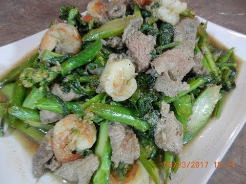 Stir Fry Shrimp and Beef with Chinese Brocoli Recipe