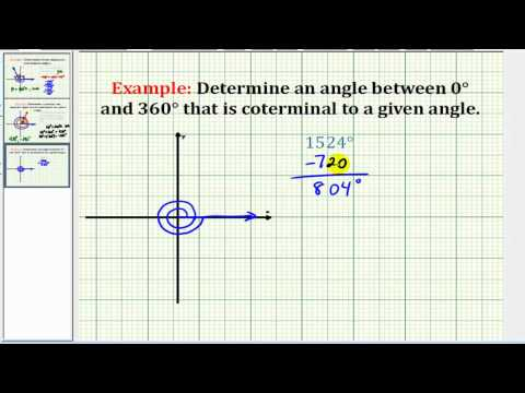 Example:  Determine a Coterminal Angle Between 0 and 360 Degrees