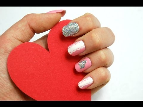 Sparkle and Lace Valentines Nails | VikiNailbeauty