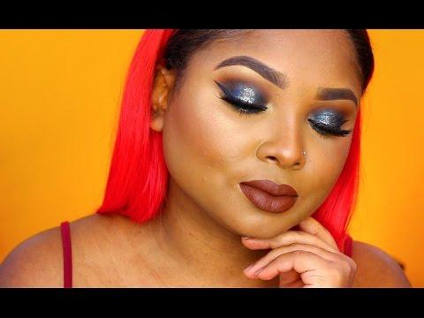 Galaxy Halo eyes and chocolate lips   makeup tutorial