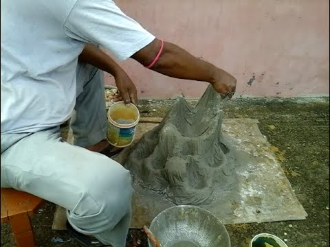 How to make Tree pot like a hill with coarse cotton cloth and cement