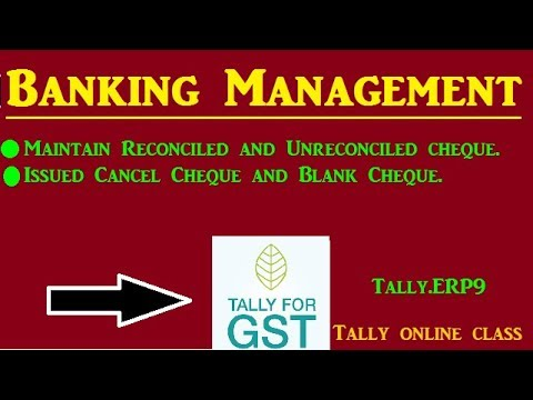 Banking Management - Issued Blank Cheque/Cancelled cheque - in Tally.ERP9
