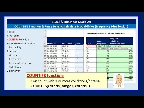 Excel & Business Math 24: COUNTIFS Function & Part/Base for Probabilities & Frequency Distributions