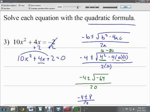 37 Quadratic Equations with Imaginary Roots
