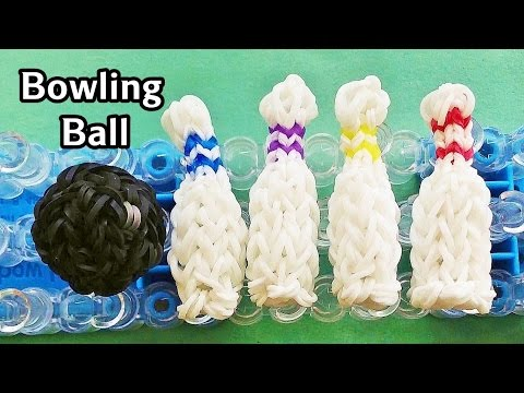 Rainbow Loom Charms: 3D Bowling Ball with loom bands   How to Make