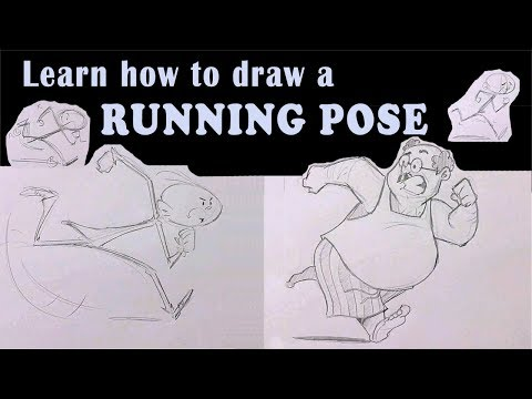 Learn how to draw a running pose Cartoon style | Drawing tutorials | RinkuArt