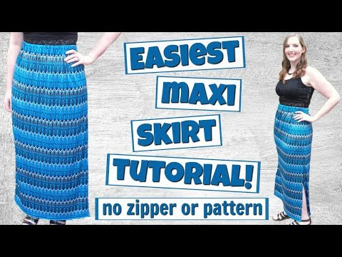 DIY Easy Maxi Skirt with Slit + Elastic Waist | How to Sew | No Zipper!