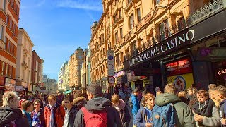 London Walk of Theatre District - Soho - Piccadilly Circus - Haymarket - Trafalgar Square | England