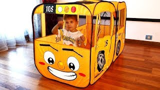 Roma and Diana Pretend play with School Bus Tent