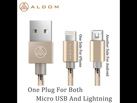 Aldom USB 2 IN 1 Cable - Micro USB and Apple Lightning Dual Cable