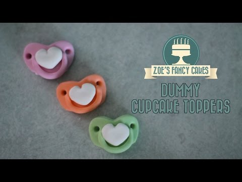 Cupcake toppers: Fondant baby dummies cake decorating tutorials