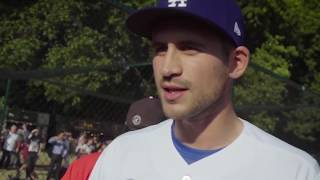 Alex Hales and Jos Buttler try their hand at baseball