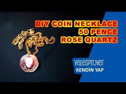 DIY Coin Necklace | 50 Pence and Rose Quartz, Create your own style