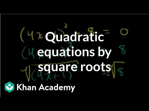 Solving quadratic equations by square roots | Algebra II | Khan Academy