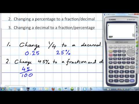 Fractions, decimals and percentages with a calculator