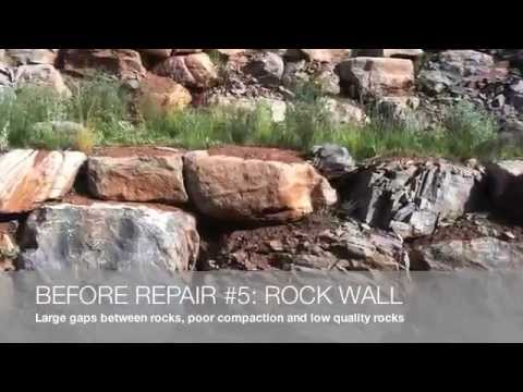 Rock retaining wall repairs, before and after photos