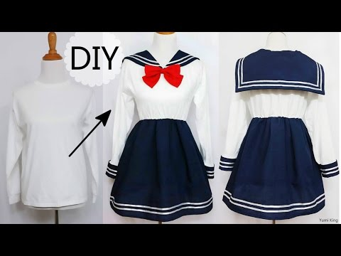 DIY: How to Transform T shirt into Navy Dress + Chinese/Qi Lolita Dress Review