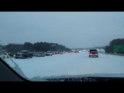 Historic Extreme Weather Traffic Gridlock Raleigh North Carolina