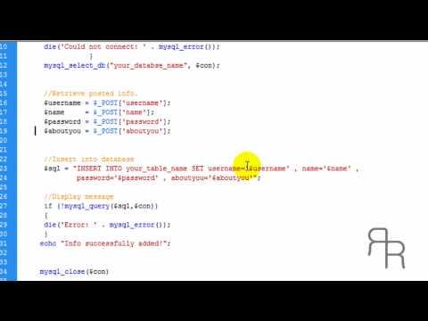 PHP Tutorial -  inserting data into MYSQL database (HD)