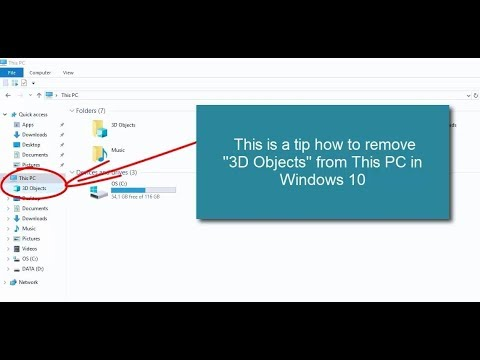 Tutorial how to remove 3D Objects from This PC in Windows 10