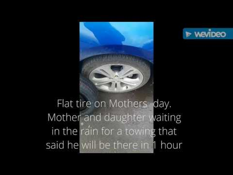 Changing a flat tire on 2017 Chevy Cruze on Mother's day.