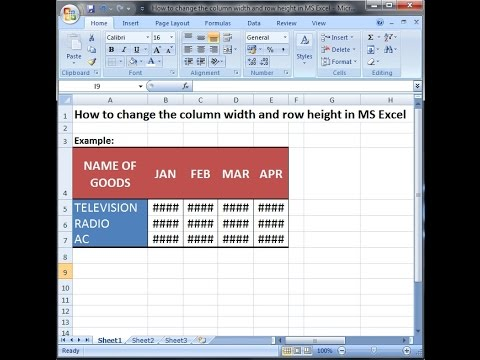 Microsoft excel training | Change the column width and row height table