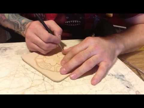 Leather cigar case tooling