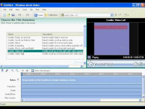 How To Make Video Credits in Windows Movie Maker(XP Version)