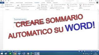 Creare Sommario/Indice Automatico con Word - Guida