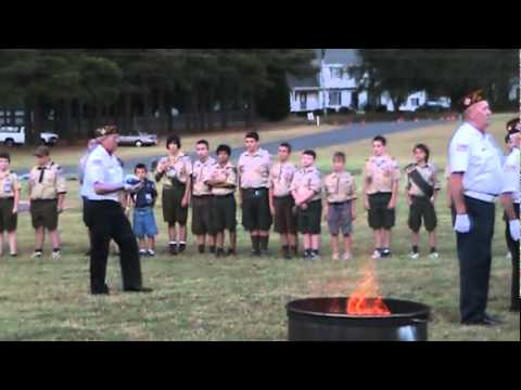 Boy Scouts & Veterans Burning American Flag Ceremony