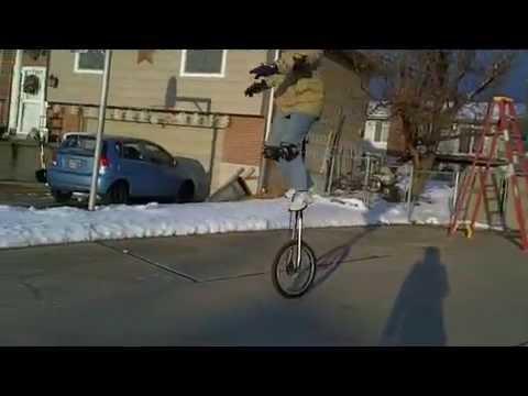 Giraffe Unicycle in Winter